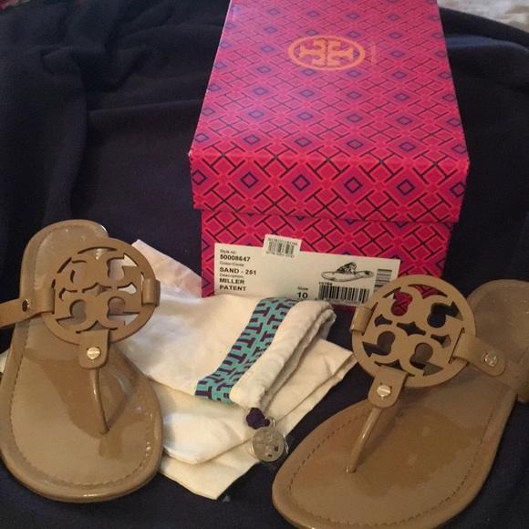 ce5d74676f2 Tory Burch Miller Sandals( Sand patent color). M 5abe514345b30c19198edcee